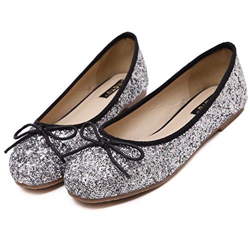 AgooLar Damen Schließen Zehe Ziehen Auf kunstleder Flache Schuhe Silber+Sequin