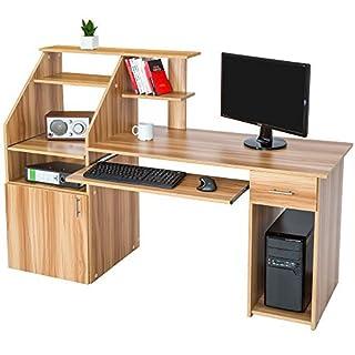 TecTake Bureau Informatique Table de l'ordinateur avec de Nombreux rangements