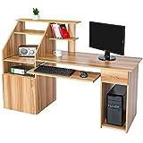TecTake Computerschreibtisch Bürotisch mit vielen Ablagemöglichkeiten und ausfahrbarer Tastaturablage