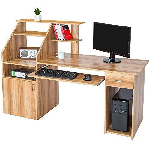 TecTake Scrivania porta PC computer tavolo ufficio con ripiano tastiera