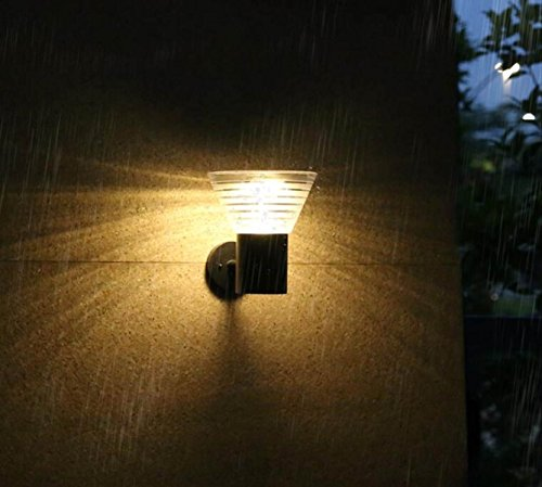 BFMEI Solaire Murale Extérieure Imperméable à l'eau LED Terrasse Mur Maison Extérieure Jardin Lumière
