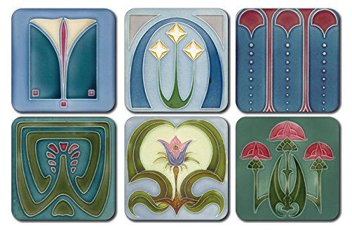 Lot de 6 dessous de verre carrés Castle Melamine style art nouveau
