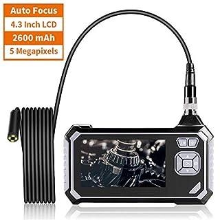 ROTEK Hand Industrie Endoskopkamera, Endoskop Autofokus 1944P Super HD 4,3 Zoll-LCD-Bildschirm, Digitale Inspektionskamera Wasserdicht, Flexible Video Boreskop mit 2600mAh Lithium-Batterie, 5Meter