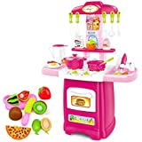 HALO NATION Big Size Kitchen Set Toy With Music And Lights Playing Accessories - Luxury Kitchen Super Set With Cookware Set, Velcro Cut Fruits & Pizza And Real Working Sink Water Tap