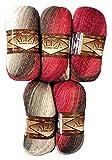 5 x 100 g Alize Glitzerwolle Farbverlauf bordeaux braun grau weiß Nr. 1984 zum Stricken und Häkeln, 500 Gramm Metallic - Wolle mit Mohair