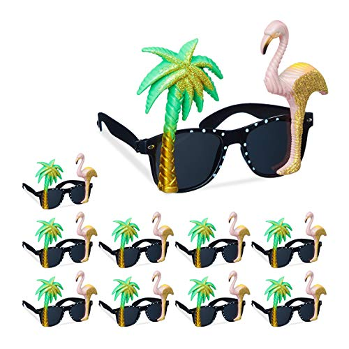 Relaxdays 10 x Partybrille Flamingo & Palme, Goldener Glitzer, getönte Gläser, Strandparty, Hawaii Brille, Kunststoff, bunt