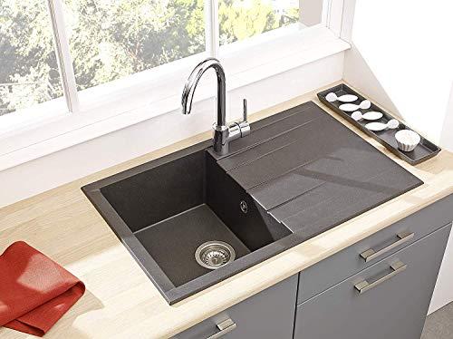 respekta Spüle Küchenspüle Einbauspüle Granit Spülbecken Mineralite 80 x 50 schwarz