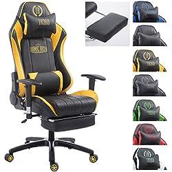 CLP Silla de oficina DRIFT XL. La silla gaming Drift XL tiene tapizado de cuero sintético y soporta un peso máximo de 150 kg. Con reposapiés y cojines para cuello y lumbares. negro/amarillo, con reposapiés