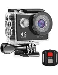 Nexgadget Caméra Action 4K, Caméra Embarquée, Caméra Sport Etanche avec Capteur Sonore, Caméra LCD 2 Pouces Grand Angle 170 Degrés WiFi Ultra HD 16MP pour Plongée jusqu'à 30 Mètres EXPLORER4 Series