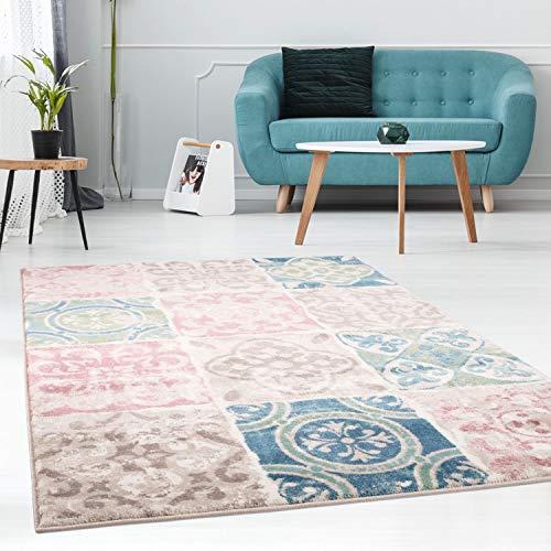 carpet city Teppich Flachflor mit Patchwork-Muster, Karo-Look, Modern, Meliert in Pastellfarben/Blau, Rosa, Mint, Beige für Wohnzimmer; Größe: 120x170 cm