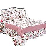 mixinni® Sommerdecke Blumenmuster Quilt Gesteppte Decke Baumwolle Tagesdecke Bettüberwurf Koralle