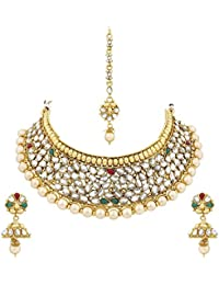 PALASH BEAUTIFUL SPARKLING GOLD PLATED DESIGNER CHOKER BRIDAL NECKLACES SET WITH MULTI-COLOR STONES AND PEARLS...