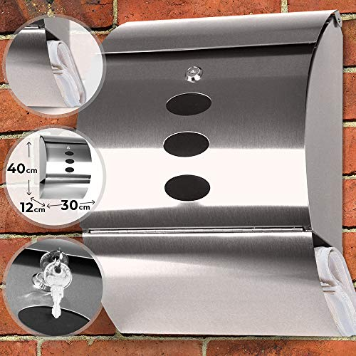 Cassetta postale | fissaggio a parete, in acciaio inox con vano portagiornali e 3 piccole finestrelle, argento | casella della posta per lettere