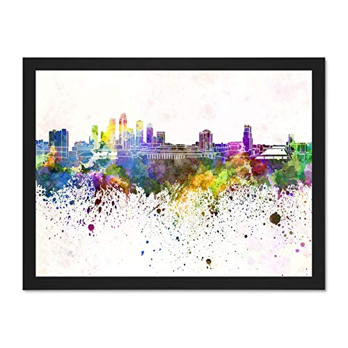 Doppelganger33 LTD Painting Cityscape Tampa Skyline Paint Splash Art Large Framed Art Print Poster Wall Decor 18x24 inch Supplied Ready to Hang