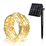 Ankway Aky12 Solar String Lights Bendable 39 Feet Long Lasting Durable Copper Wire 100 LED Warm White Solar Lights Improved Waterproof 8 Modes Solar Lights Garden for Patio, Fence, Window, Yard (Warm White)