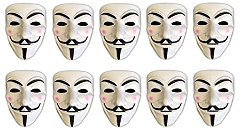 10er Set V wie Vendetta Maske | Guy Fawkes | Halloween Fasching Maske (Anonymous Hacker Kostüm)