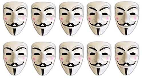 10er Set V wie Vendetta Maske | Guy Fawkes | Halloween Fasching (Cool Halloween Kostüme Guy Für)