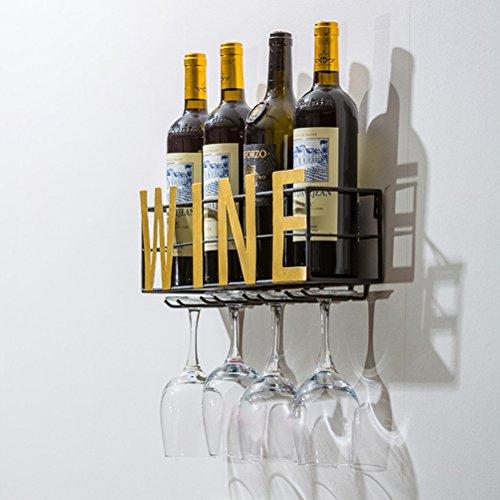 Wein-rack Flasche Eine Einzige (SAN QIAN WAN- An der Wand befestigter Metallwein-Gestell 4 langer Stamm-Glas-Halter u. Wein-Korken-Lagerung Weinregal)