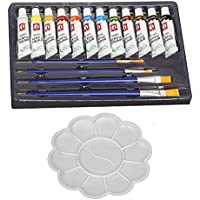 Kurtzy 12 Color Acrylic Paint Studio Set (12ml Professional Grade Painting Kit With Painting Palette