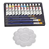 #4: Kurtzy Assorted 12 Color Acrylic Paint for Painting Canvas Clay Fabric Nail Art Ceramic with Free Painting Palette and 4 Brush Each 12ml