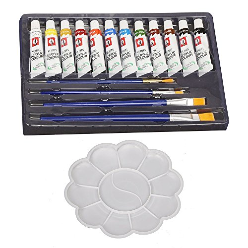 Kurtzy 12 Color Acrylic Paint Studio Set (12Ml Professional Grade Painting Kit For Painting Canvas, Clay, Fabric, Nail Art, Ceramic & Crafts With Free Painting Palette