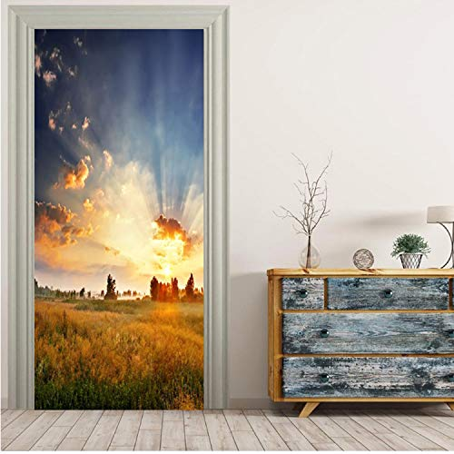 Türaufkleber Bewölkter Himmel Und Herbst Grünland Tapete Wandbild Wandtattoo Wandtattoo 3D Fototapete Selbstklebende Türverpackung 77 × 200 cm