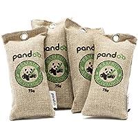 pandoo 4 x 75g Ambientador de bambú natural con carbón activado - Purificador de aire, deshumidificador, secador de aire, purificador de aire y ambientador - Absorbe olores y filtros Contaminantes y alergenos - Para automóvil, calzado, cocina, baño, baño, etc. - Utilizable por 2 años, libre de química y contaminantes y 100% biodegradable