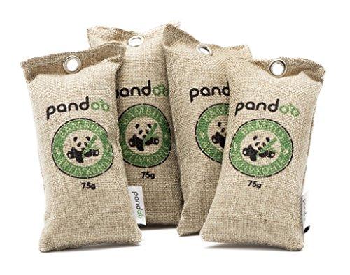 pandoo 4 x 75g Ambientador de bambú natural con carbón activado - Purificador de aire, deshumidificador, Utilizable por 2 años, libre de química y contaminantes y 100% biodegradable