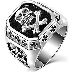 BOBIJOO Jewelry - Plata cruz de los templarios de acero inoxidable biker triker