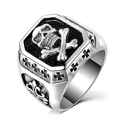 BOBIJOO Jewelry - Anillo Anillo de Calavera de Plata de la Cruz de los Templarios de Acero Inoxidable Biker Triker - 14 (7 US), Acero Inoxidable 316