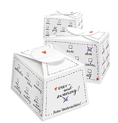 24 kleine Boxen | Adventskalender Schachteln | Adventsboxen zum Selbst befüllen, basteln und Ankreuzen | für Männer, Frauen & Kinder | ca. 7 cm breit x 8,5 cm lang x 5,7 cm hoch | Schwarz Weiß