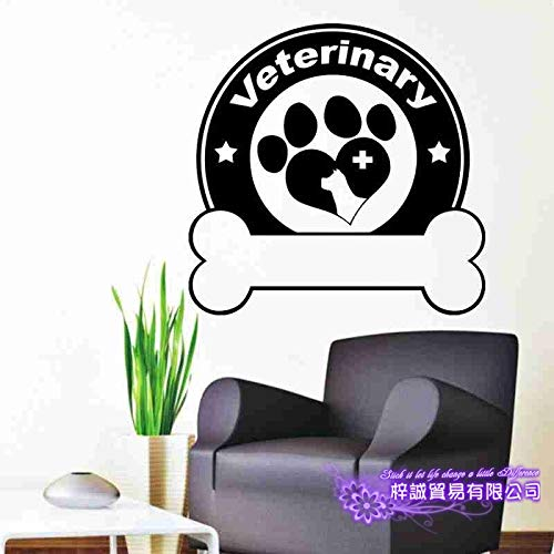 DCTAL Hundepflege Salon Pet Shop Aufkleber Aufkleber Poster Vinyl Wandkunst Aufkleber Parede Decor Wandbild Pet Shop Sti 35x81cm -