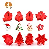 GWHOLE Set de 4 Moldes de Galletas Navidad Plástico Cortador Tridimensional para Galletas de forma Muñeco de Nieve Papá Noel Copo de Nieve árbol de Navidad