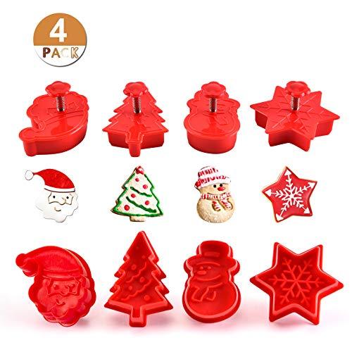GWHOLE Set 4 Moldes Galletas Navidad Plástico Cortador