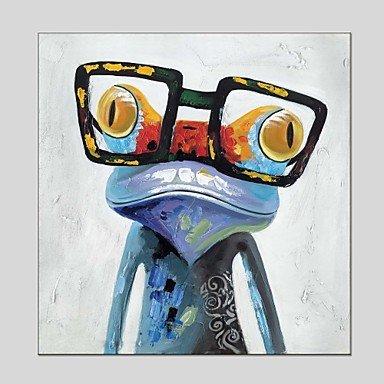 HY&GG Ölgemälde Frosch Mit Brille Canvas Material Mit Hölzernen Liegebank Fertig Zum Aufhängen Größe 60*60 Cm Und 70*70 Cm (Innerer Rahmen), 70 Cm X 70 Cm