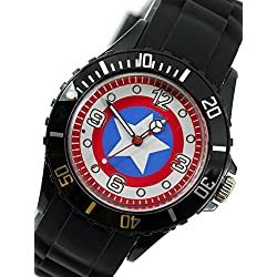 New Fashion Kid WG26 Marvel Super Hero Captain America Boy Man Metal Black Silicone Watch Wrist