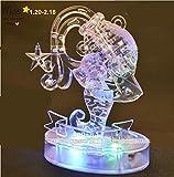 3D Crystal Puzzle 12 montierte Konstellationen basteln puzzle Spielzeug LED Licht (Aquarius)