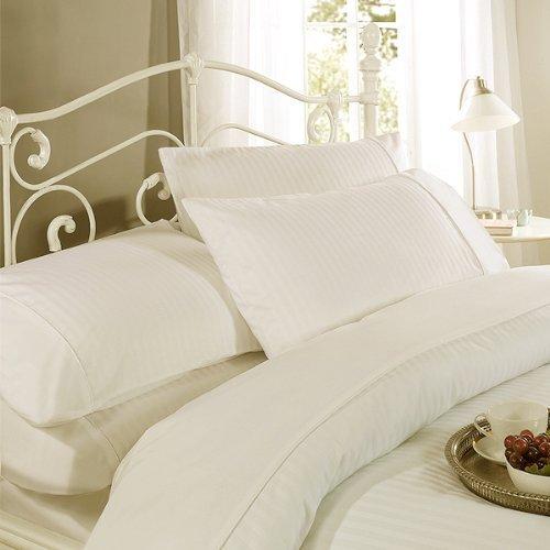 Dorchester Ritz Funda de edredón y 2 Almohadas Marfil 100% diseño de Rayas de satén de algodón 300...