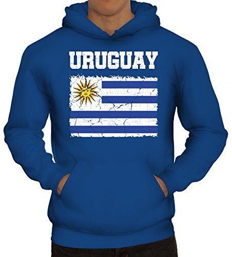 Trikot Fußball WM Fanfest Gruppen Fan Herren Hoodie Männer Kapuzenpullover Wappen Uruguay, Größe: L,Royal Blau - Uruguay Wm