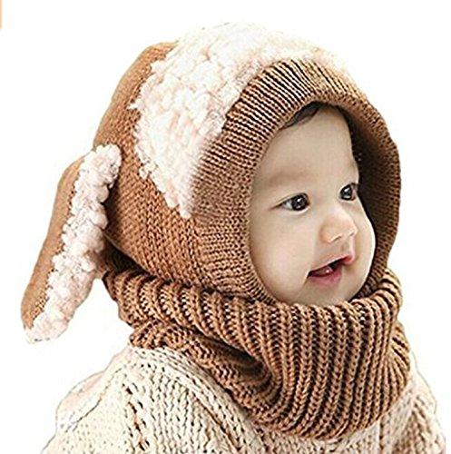 ZZLAY Belle bébé chapeau d'hiver écharpe earflap capuche écharpes crâne casquettes chaudes tricot couverture de visage cagoule