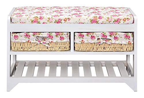 Ts-ideen - panchina/scarpiera con due cestini, colore: bianco