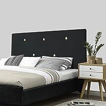 SERMAHOME- Cabecero Alicante tapizado Tela Color Negro botón Beige. Medidas: 160 x 55