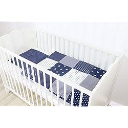 ULLENBOOM ® Babybettwäsche Set Blaue Sterne (2 tlg. Baby Bettset: Kissenbezug 35x40 cm & Bettdeckenbezug 80x80 cm, Motiv: Sterne, Patchwork Design)