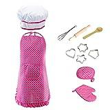 cuitan Rollenspiele für Kinder Rosa Küchenspielzeug 11 Pcs Küchenaccessoires Kochset für Jungen und Mädchen Niedlich Kinder-Kochschürze
