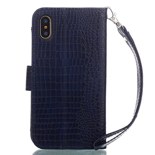 Coque iPhone X, Voguecase Housse en PU Cuir avec Support Fonction Étui de Protection Magnétique avec Porte-cartes pour Apple iPhone X (Crocodile grain II-Gris clair) + Gratuit stylet l'écran aléatoire Crocodile grain II-Bleu