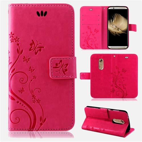 betterfon | Flower Case Handytasche Schutzhülle Blumen Klapptasche Handyhülle Handy Schale für ZTE Axon 7 Mini Pink
