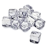 bar@drinkstuff Artificial Acrylic Ice Cubes 1kg Bag of 50 (Approx.) - Decorative Fake Ice Cubes for Displays