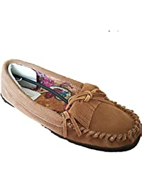 Hannea Women's Moccasin Slippers With Genuine Cow Suede Upper Printed Fabric Lining And Rubber Outsole