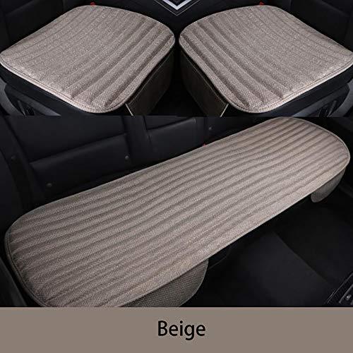 YGB Seggiolino Auto in carboncino di bambù Cuscino per seggiolino Auto in Tre Pezzi, Senza Schienale Cuscino per Sedile in Lino bambù Color Carbone (Colore :Colore del caffè), Beige