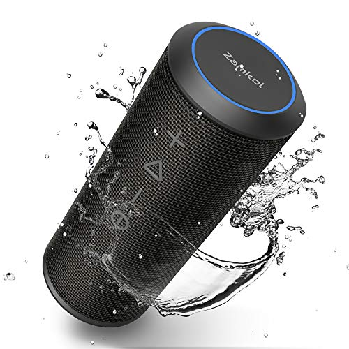 Wireless Bluetooth Lautsprecher Subbass Leistungsstarker 20 Watt Wireless 360° Sound Bluetooth Speakers V4.2 mit Wasserfest Stoßfest Mikrofon und Reinem Bass Zamkol